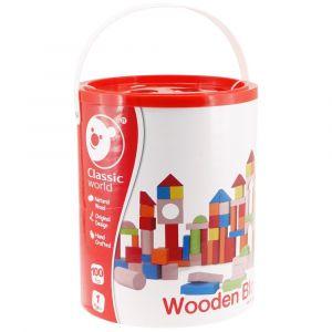 100Pc Wooden Blocks - Barrel