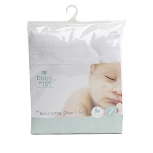 Bassinet Flannelette Sheet - Set White