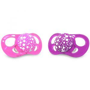 2 X Pacifier Pink/Purple 6+M