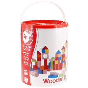 100Pc Wooden Blocks - Barrel