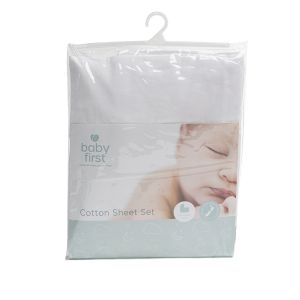 Bassinet Cotton Sheet - White Set