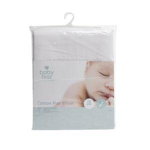 Cot Cotton Sheet - Flat White