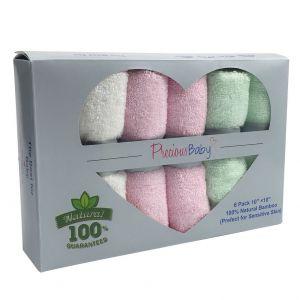 Baby Wash Cloth Pink 6Pk