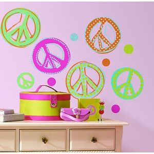 Glitter Peace Sign Wall Decals